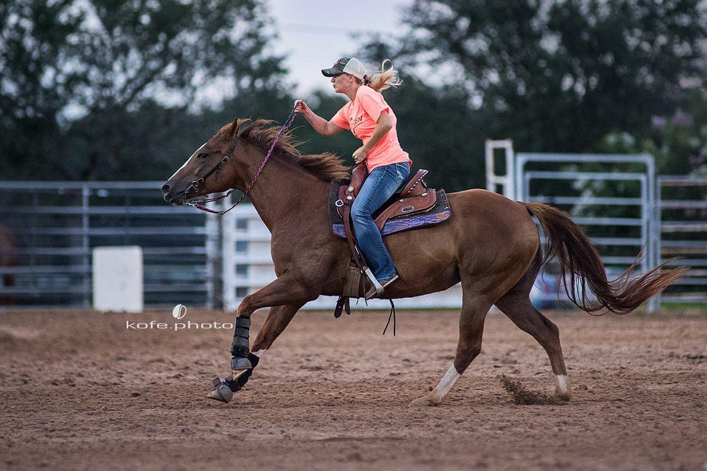 Kara Bronson Hurst on Penny. Barrel racing at Windy Acres Farms.