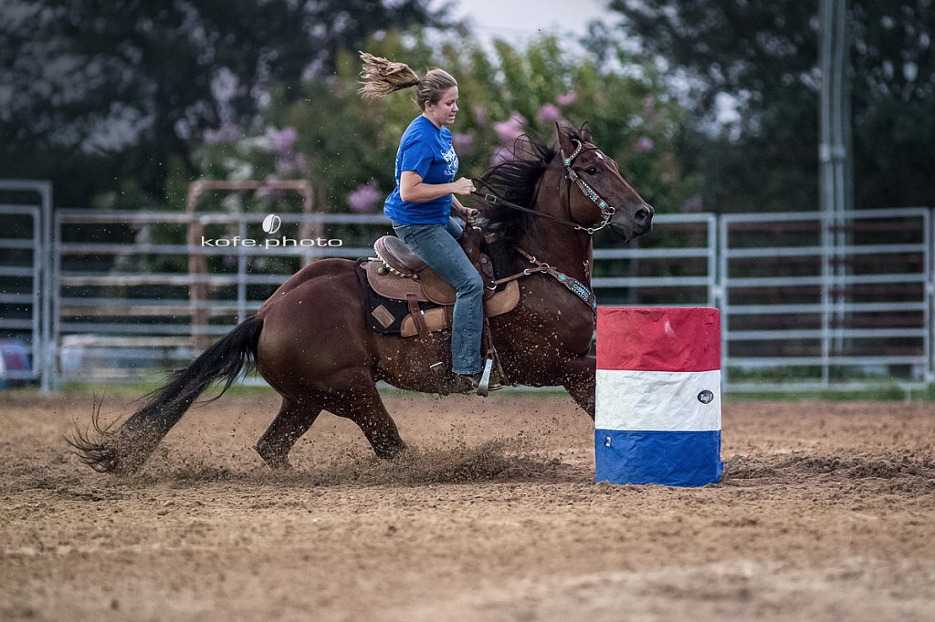Kristina Bair on Trigger. Barrel racing at Windy Acres Farms.
