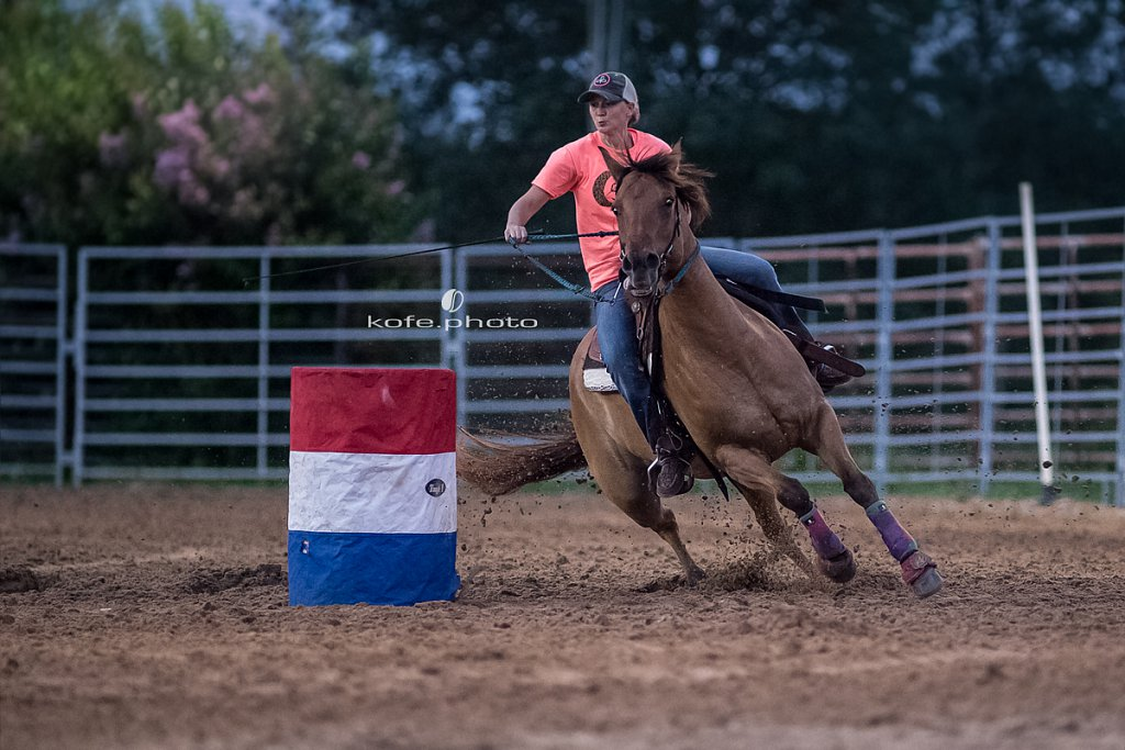 Kara Bronson Hurst on Penny. Barrel racing at Windy Acres Farms.