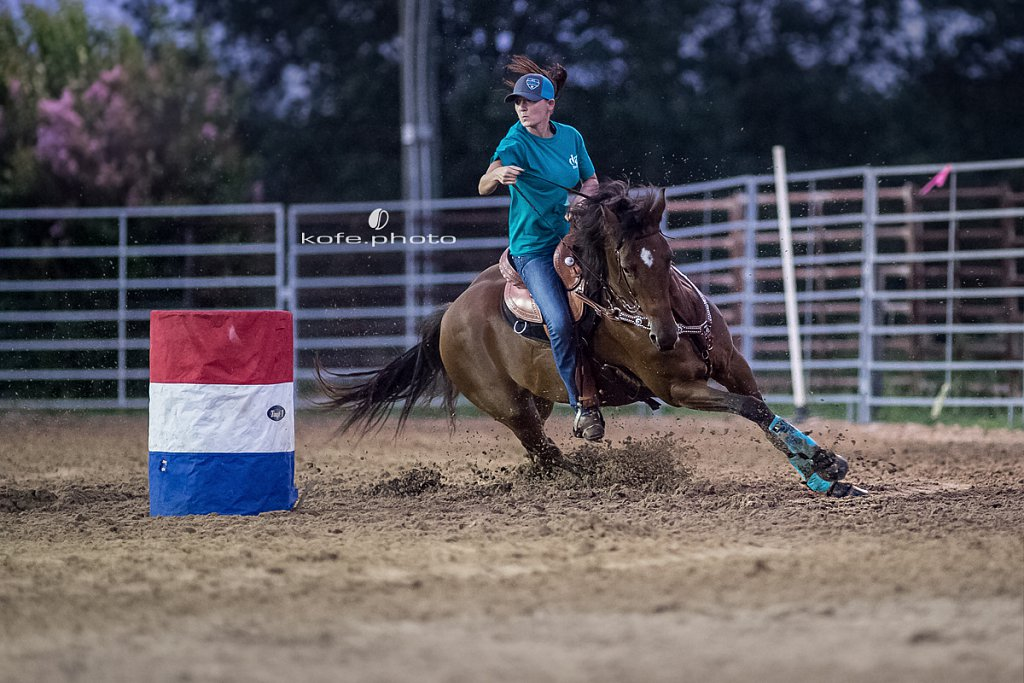 Jessica Ann Gilbert on Fireball Double. Barrel racing at Windy Acres Farms