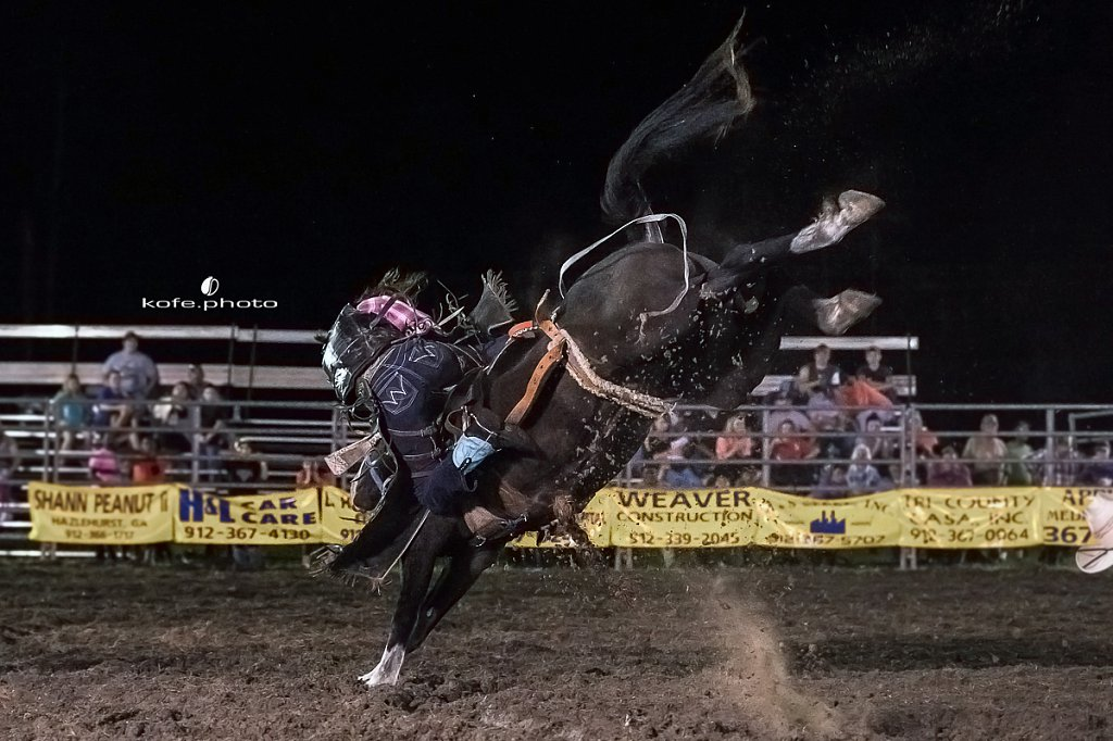 Lynn Ray. Baxley Lions Club Rodeo. September 29th 2017. Bare Back and Saddle Broncs. Baxley Georgia.