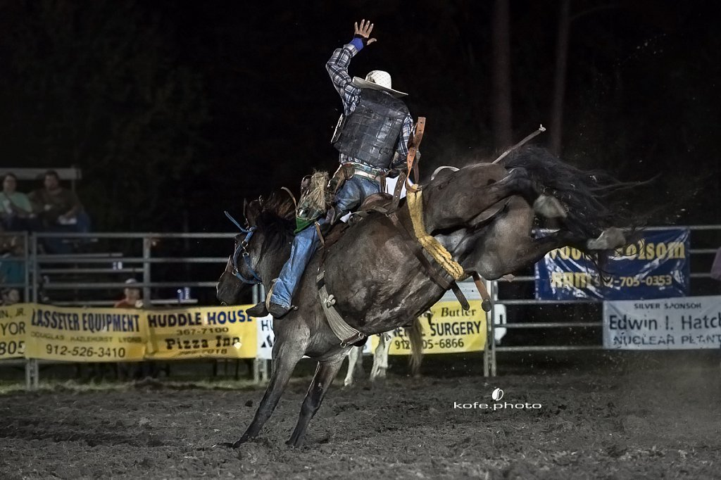 Joseph Milton. Baxley Lions Club Rodeo. September 29th 2017. Bare Back and Saddle Broncs. Baxley Georgia.