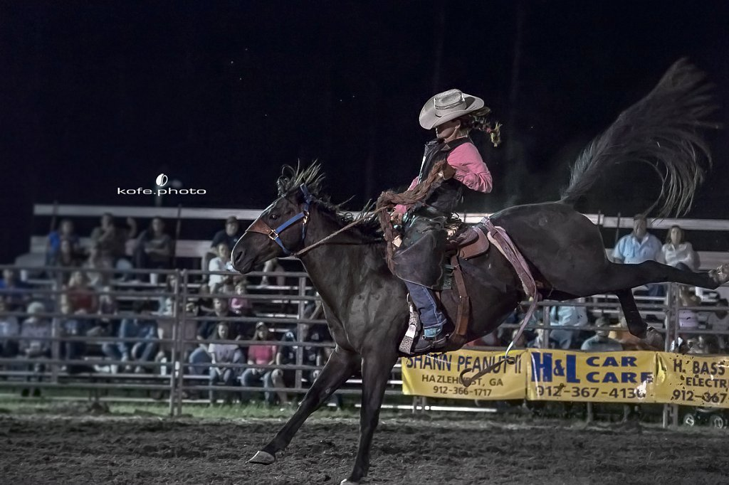 Lynn Ray. Baxley Lions Club Rodeo. September 30th 2017. Bare Back and Saddle Broncs. Baxley Georgia.