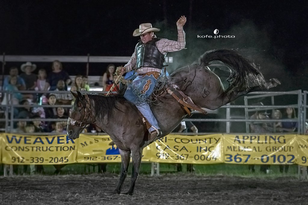 Baxley Lions Club Rodeo. September 30th 2017. Bare Back and Saddle Broncs. Baxley Georgia.